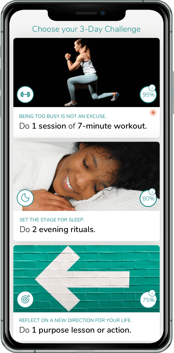 Yolife App Preview of Challenges